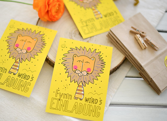 einladungskarten zum kindergeburtstag, kindergeburtstagskarten, einladungen personalisiert, mit namen, löwe, zoo, löwenstark