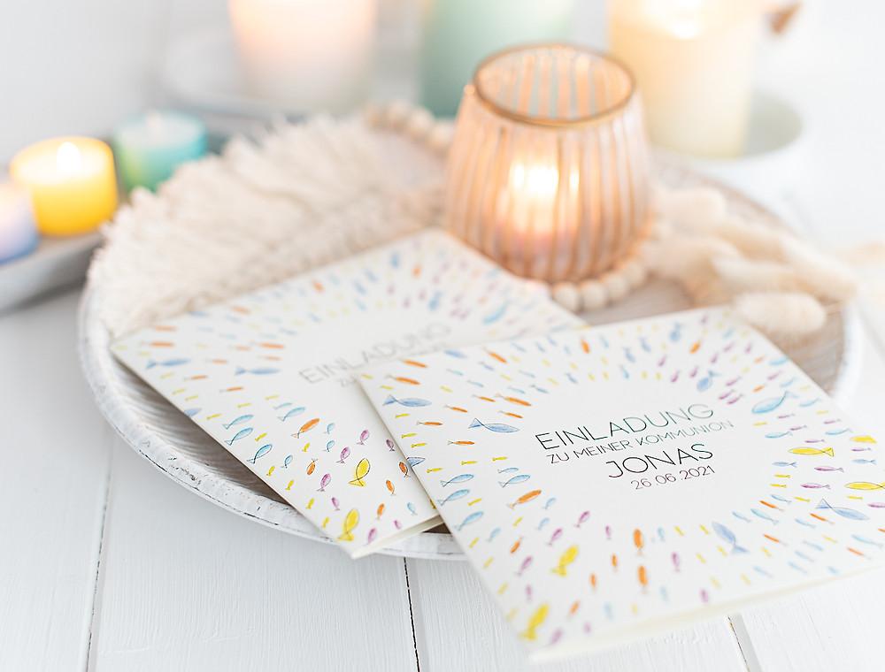einladungskarten kommunion, konfirmation, einladungen, bunt, fische, regenbogenfarben