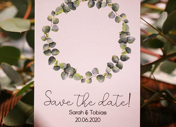 save the date hochzeit, eukalyptus