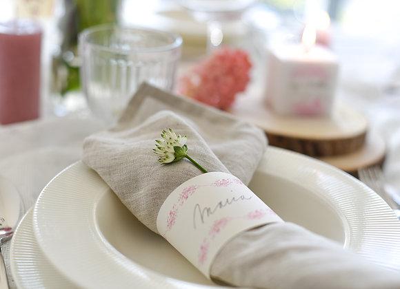 tischdeko hochzeit, banderole hochzeit, servietten ring hochzeit, lasst leibe wachsen, platzhalten, tischkärtchen, nameskarte
