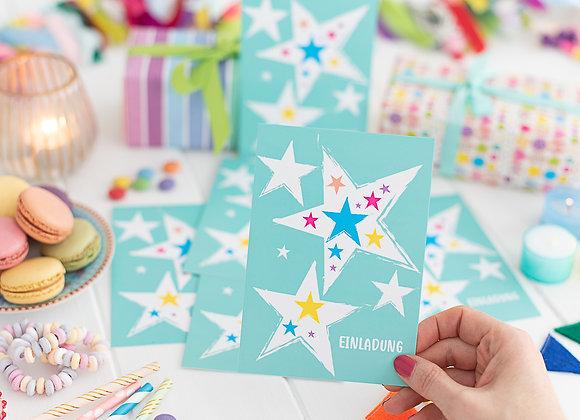 einladung kindergeburtstag, einladung junge, einladung mädchen, einladungskarten, türkis, einladung sterne