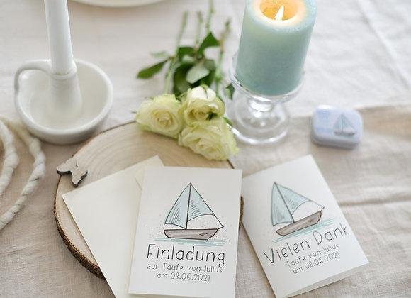 einladung zur taufe, einladungskarte zur taufe, taufe motiv schiff, boot, rosa, taufe für junge, personalisiert, einladunge