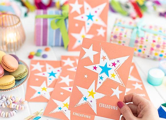 6 Stück Einladungskarten Kindergeburtstag Sterne - Orange