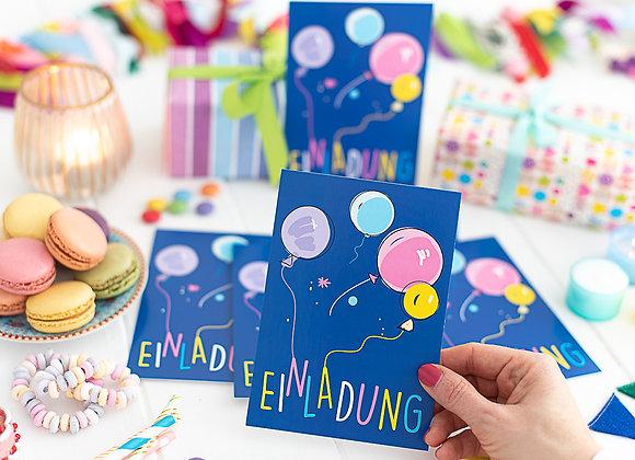 einladung kindergeburtstag, einladung junge, einladung mädchen, einladungskarten, luftballon