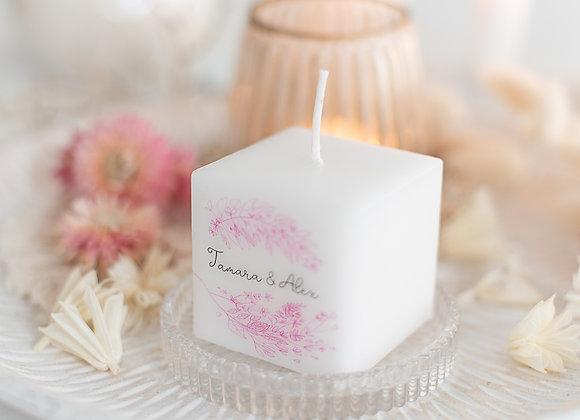 gastgeschenke zur Hochzeit, bedruckte kerzen, personalisierte gastgeschenke, eukalyptus, give away hochzeit,