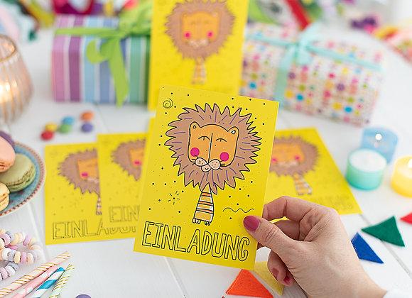 einladung kindergeburtstag, einladung junge, einladung mädchen, einladungskarten, löwe, zoo
