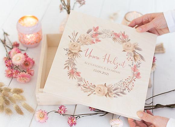 erinnerungsbox hochzeit, fotobox hochzeit, holzkiste hochzeit, geschenke für Brautpaar