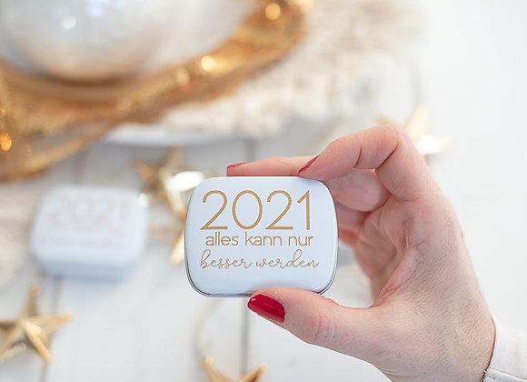3 Stück - 2021 - alles kann nur besser werden - bedrückte Döschen