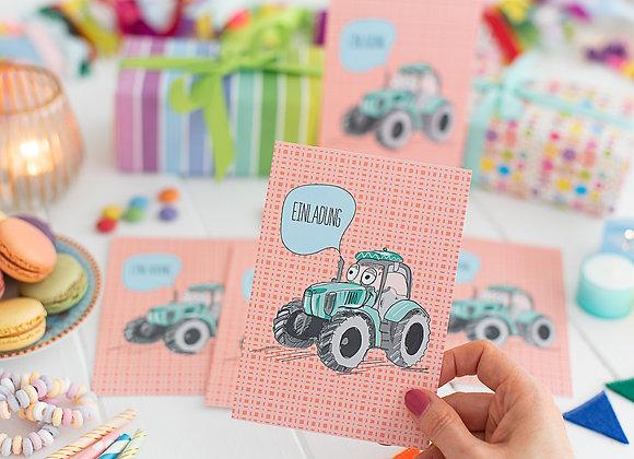 einladung kindergeburtstag, einladung junge, einladung mädchen, einladungskarten, traktor, bauernhof
