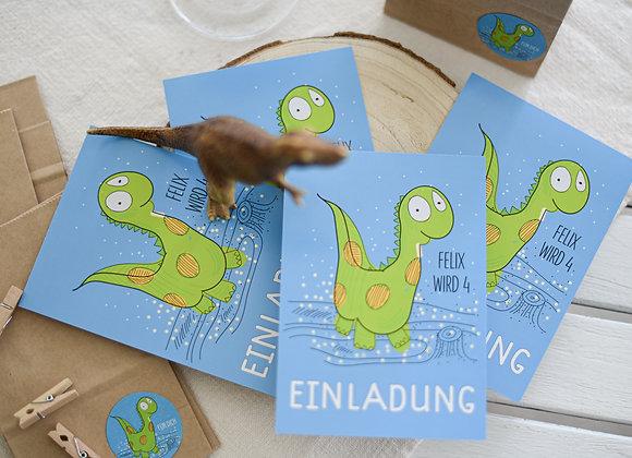 einladungskarten zum kindergeburtstag, kindergeburtstagskarten dino, einladungen personalisiert,  namen,dino, dinosaurius,