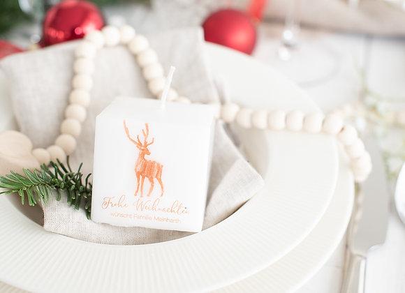 weihnachtskerze, rentier, personalisierte kerze, bedruckte kerze