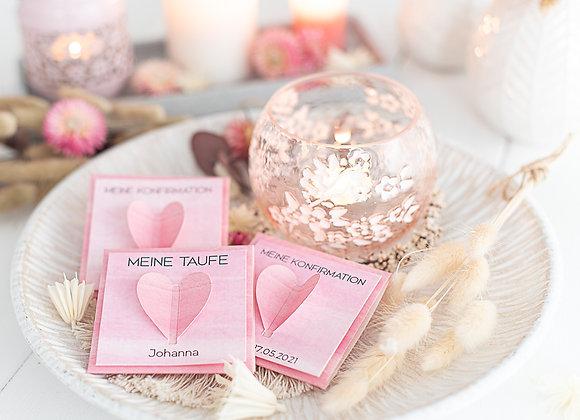 gastgeschenk blumensamen, konfirmation, kommunion, taufe, firmung mädchen pink