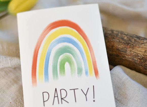 Einladungskarte zum Geburtstag -  Regenbogen - Party