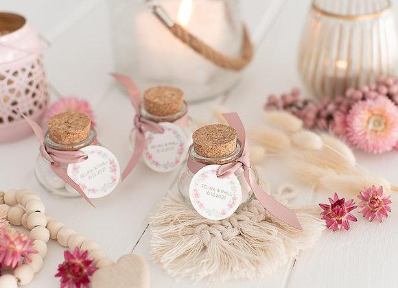gastgeschenke zur Hochzeit, bedruckte döschen, personalisierte gastgeschenke, eukalyptus, give away hochzeit, korkenglas
