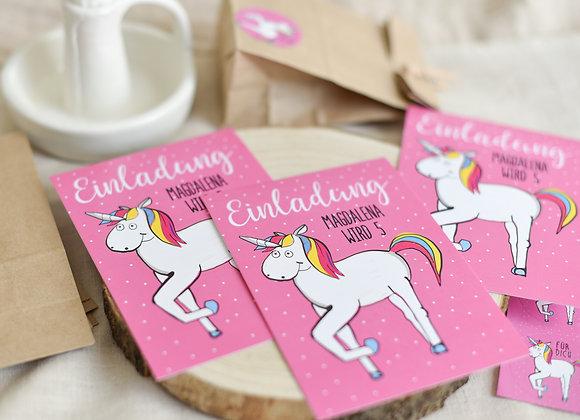 einladungskarten zum kindergeburtstag, kindergeburtstagskarten, einladungen personalisiert, einhorn, für mädchen