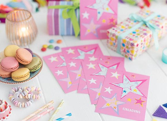 einladung kindergeburtstag, einladung junge, einladung mädchen, einladungskarten, sterne pink