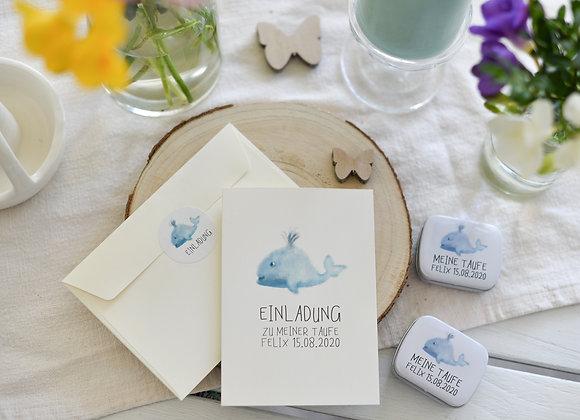 Einladungskarte zur Taufe - Wal