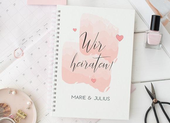 hochzeitsplaner buch, notizbuch, checkliste, wedding planer, personalisiert, hochzeitsplanung, verlobungsgeschenk