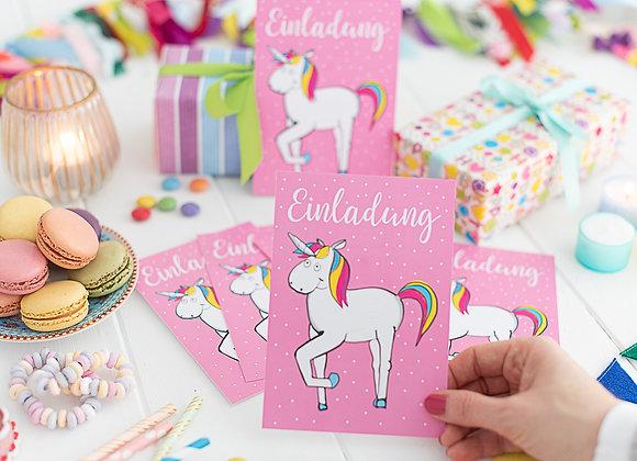 6 Stück Einladungskarten Kindergeburtstag Einhorn