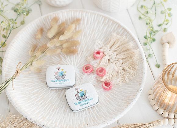 gastgeschenke taufe, geschenke für Taufgäste, bedruckte Döschen, personalisierte Döschen für Junge und Mädchen arche noah