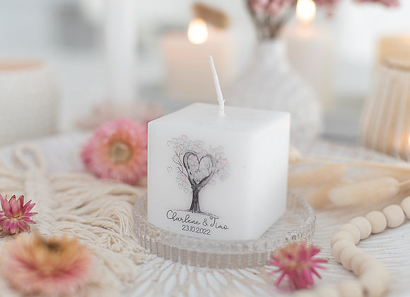 gastgeschenke zur Hochzeit, bedruckte kerzen, personalisierte gastgeschenke, eukalyptus, give away hochzeit, hochzeitskerze