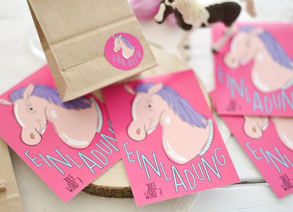 einladungskarten zum kindergeburtstag, kindergeburtstagskarten pferd, einladungen personalisiert, mit namen, pferd, reiten,