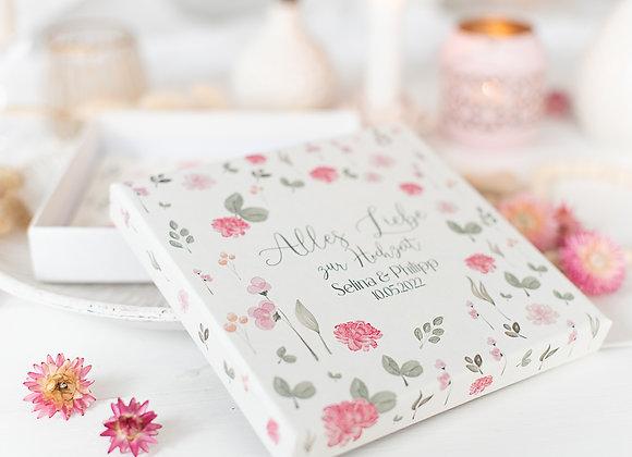 geldgeschenk hochzeit personalisiert, sommerwiese, geschenk für Brautpaar, geld verpacken hochzeit