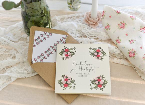 hochzeitseinladung, einladung zur Hochzeit, garden of love, rosen, boho hochzeit