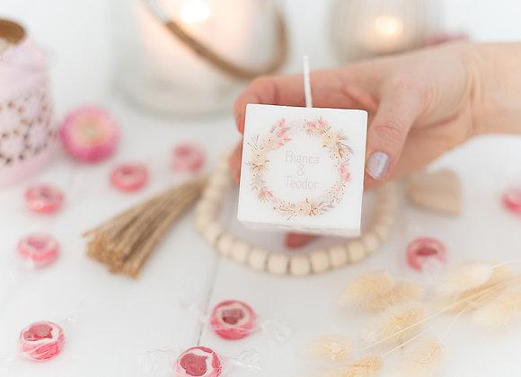 gastgeschenke hochzeit, bedruckte kerze , trockenblumen, geschenke für gäste, personalisiert,