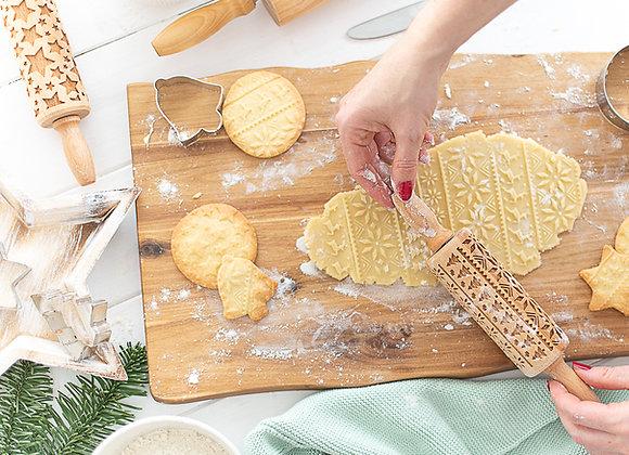 teigroller mit muster, nudelholz mit prägung, keksrolle graviert, weihnachten, sterne