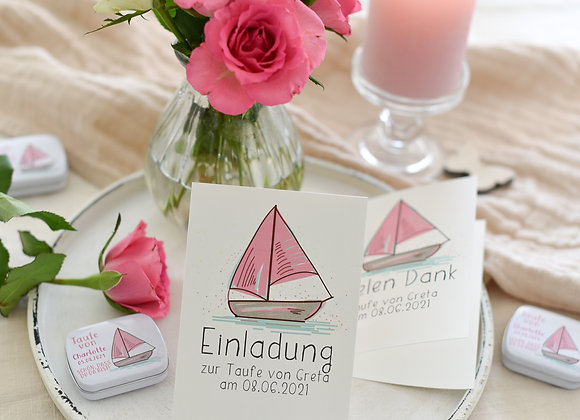 einladung zur taufe, einladungskarte zur taufe, taufe motiv schiff, boot, rosa, taufe für mädchen, personalisiert