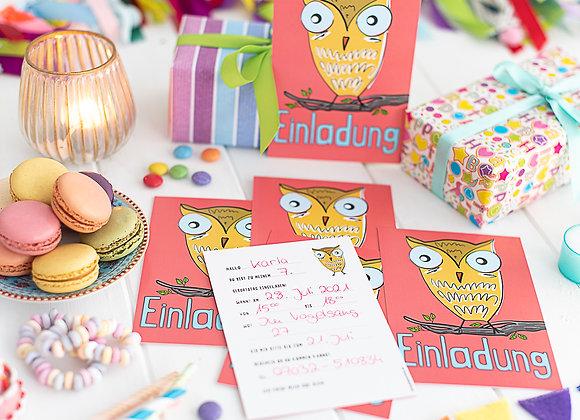 einladung kindergeburtstag, einladung junge, einladung mädchen, einladungskarten, eule