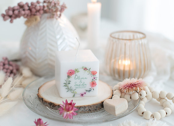 gastgeschenke hochzeit, bedruckte kerze, moonblumen, geschenke für gäste, personalisiert,
