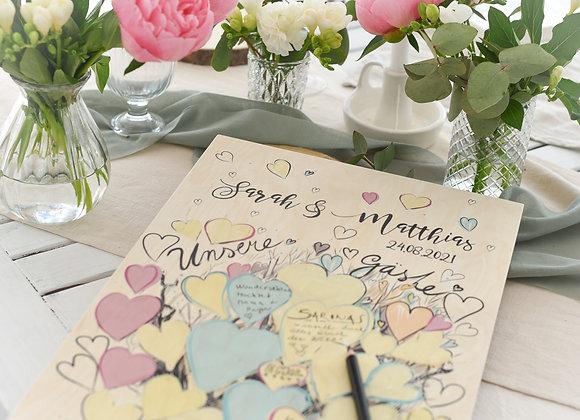 gästebuch zur hochzeit, hochzeit gästebuch, tree of love, gästebuch mit fragen, gästebuch hochzeit personalisiert , holzbild