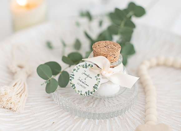 gastgeschenke zur Hochzeit für gäste, bauchgläschen zum befüllen, für hochzeitsmandeln, eukalyptus