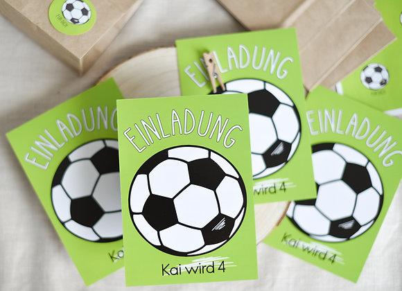 einladungskarten zum kindergeburtstag, kindergeburtstagskarten, einladungen personalisiert, mit namen, fussball, sport,