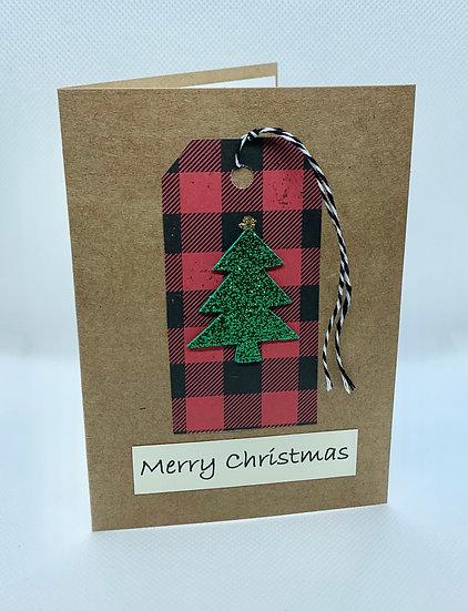 Tree on Buffalo Check - Merry Christmas