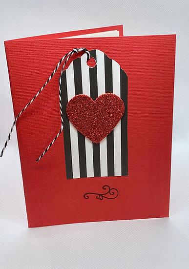 Glitter Heart on Stripes
