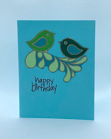 2 Birds on a Branch - Happy Birthday