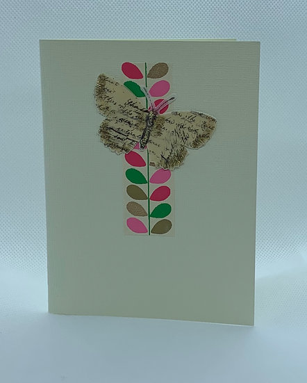 Butterfly on PInk and Green