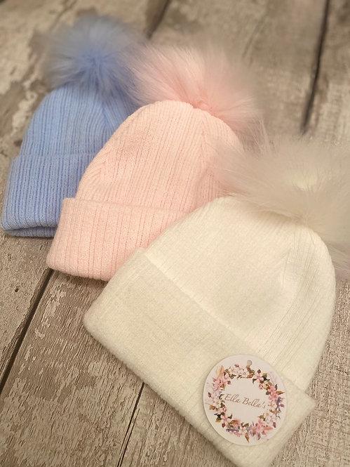 Single Faux Fur Self Colour Pom Hat