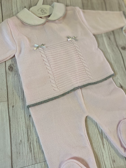Pink Grey Trim Knitted Two Piece