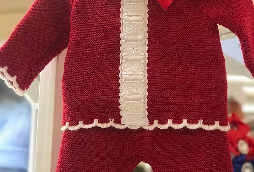 Red Frilly Collar Legging Set