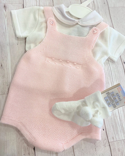 Pink Knitted Romper Set