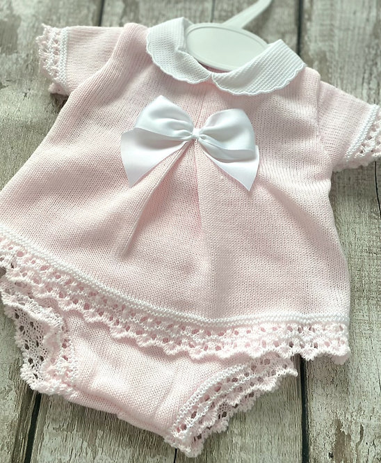 Crochet Edge Bow Two Piece