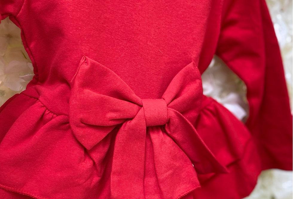 Red Pemplum Bow Lounge Set
