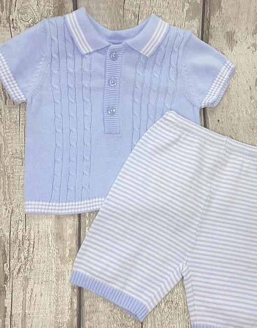 Blue Cable Knit Cotton Set