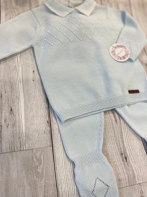 Blue Diamond Detailed Cotton Two Piece