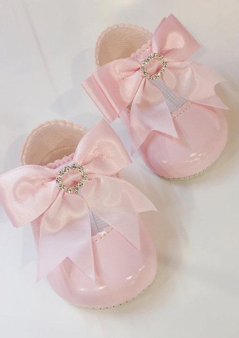 Diamanté Bow Pram Shoe