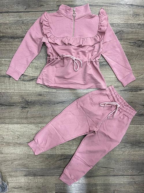 Pink Ruffle Collar Lounge Set